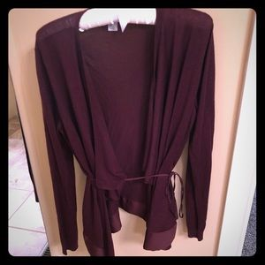 H&M burgundy cardigan sweater with tie detail